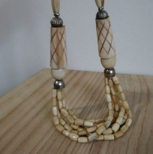 Vintage carved bone boho tribal statement necklace